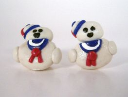 Stay Puft Marshmallow Man Earrings by sweet-geek