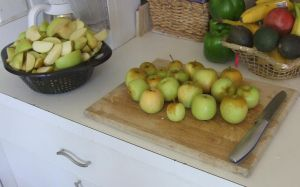 Apple Pie raw and cut apples by dtf-stock