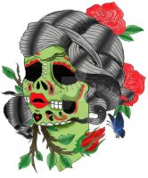 Sugar Skull with Colors by lov3-m3tal