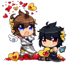 Pit And Dark Pit (Couple chibi -sample-) by CattyMaddie