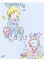 Pewdiepie and Cry Chibis by REvilPieGirl