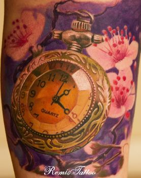 Relistic Tattoo Old Pocket Watch by Remistattoo