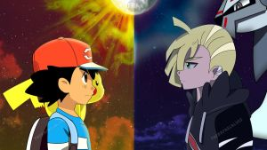 Ash vs Gladion by therafaelalves