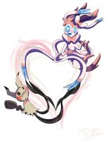 Mimikkyu and Sylveon by Myssi98765