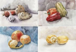 watercolor sketches by TinaGrey