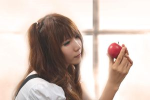 Girl and apple by Jaceexcel
