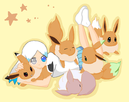 Sitting with Eevees by KitsPokePeople