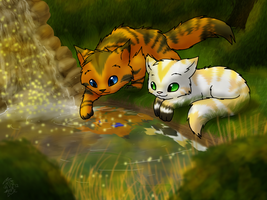 Vanillafur and Mapletail by DragonwolfRooke