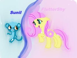 Flutershy And Sunil by SagieLps592