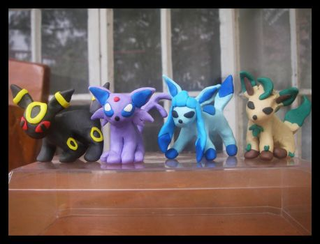 Clay Eeveelutions by kalabasa019