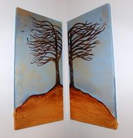 2 Canvas abstract tree paintg by kymtacullar