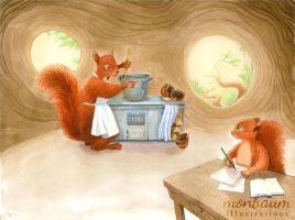 The Squirrel Who Was Afraid Of Heights - Chore by monbaum