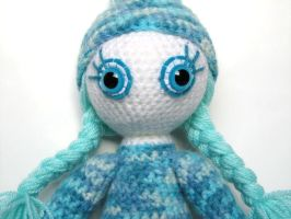 Crochet doll soft toy blue white winter snow by KooKooCraft