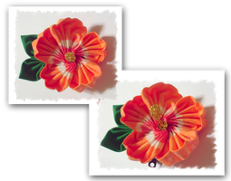 Tropical Orange Hibiscus Kanzashi by EruwaedhielElleth