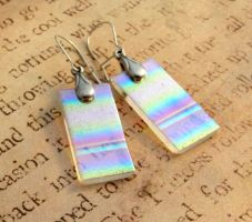 Rainbow Aurora Earrings Fused Glass by FusedElegance