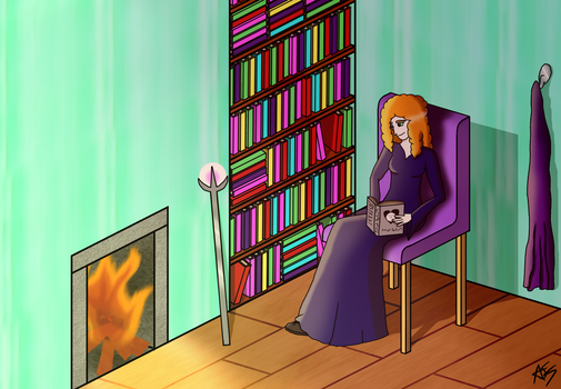 Reading by the fire by AmberJemStones