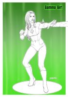 Gamma Girl gift linework by KinkyInks