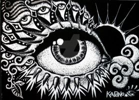 ACEO Scratchboard Sunset Eye by MandarinMoon