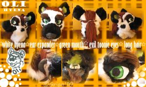 Oli hyena fursuit head by Grion