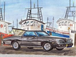 1975 Pontiac Grand Am In Bayou La Batre, Alabama by FastLaneIllustration