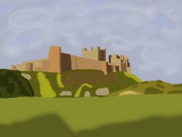 Castle On hillside (block colour art) by lordgarth6