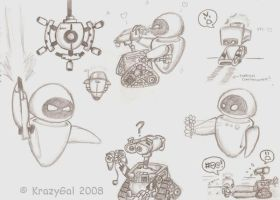 Wall-E Doodles by KrazyGal