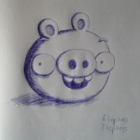 Blue ball pen pig by RiverKpocc