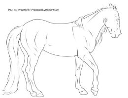 Free Lineart - Walking Horse by ImNotCrazy-really