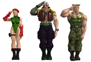 Cammy, Nash and Guile - Hand Salute (final) by El-Rockero