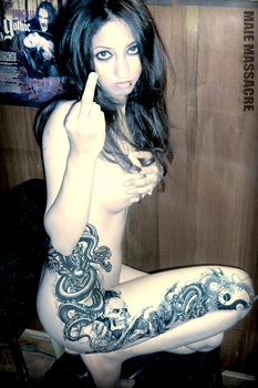maie nude middle finger fetish by Gothface