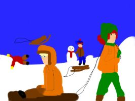 Winter  fun in South Park by freacls