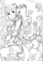 Miss boredom lineart by Kanza