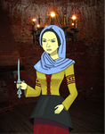 Medieval woman with dagger by bebesdupoire