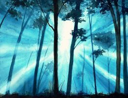 Forest sunrays by KaritaArt