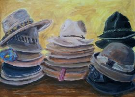 simple acrylic painting of hats by barbko