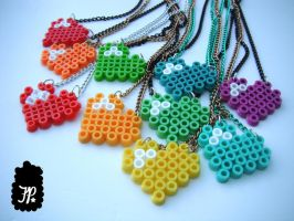 Colors of My Heart Charm Necklaces by TheFuzzyPineapple