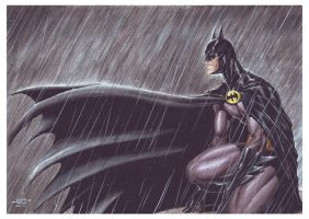 Batman in the Rain by edtadeo
