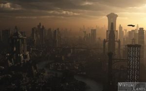 Futuristic city evening by Offrench
