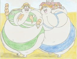COM Lucy and Nami beach fatties by Robot001