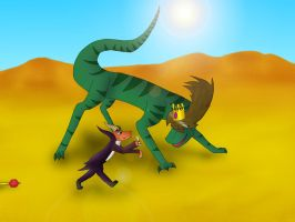 Chantele the raptor and Ripto by trencik