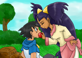 Iris gives Ash an apple by Riadorana