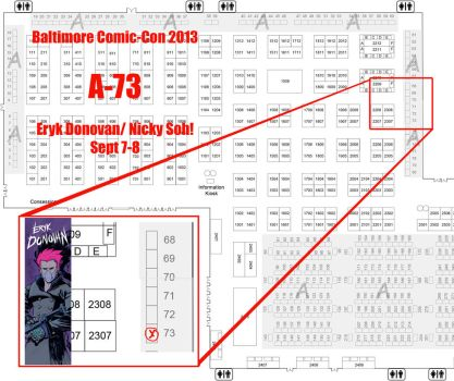 Baltimore Comic-Con Table Location! by Erykkr