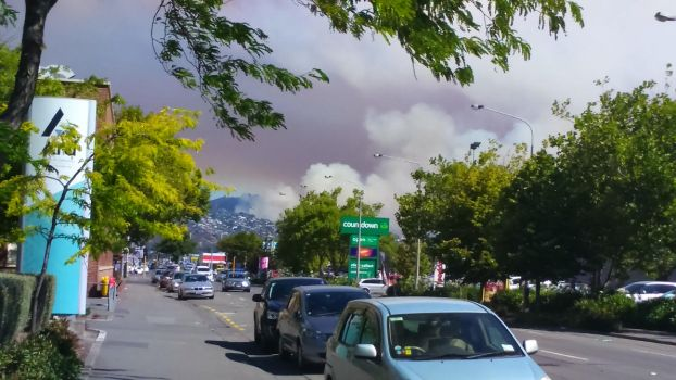 Madras view of Port Hills fire by JerryWestaway