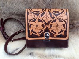 Hand Tooled Leather Purse - Front by SonsOfPlunderLeather