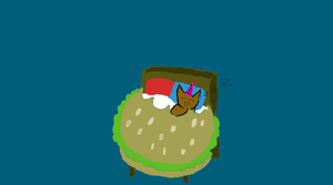 Unicorn cat in a Cheeseburger bed by theGman0