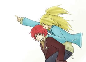 Deidara and Sasori: Go, Danna by FeatherHarp