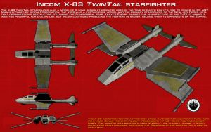 Incom X-83 Twintail starfighter ortho [New] by unusualsuspex