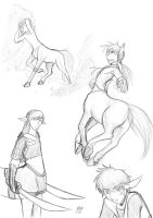 Centaur Sketches by Kitsune64