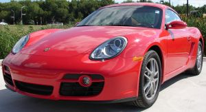 Red Porsche Cayman Car 4 by FantasyStock