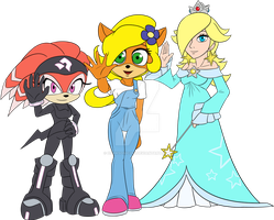 Shade, Coco, and Rosalina Waving by DarkSonic250